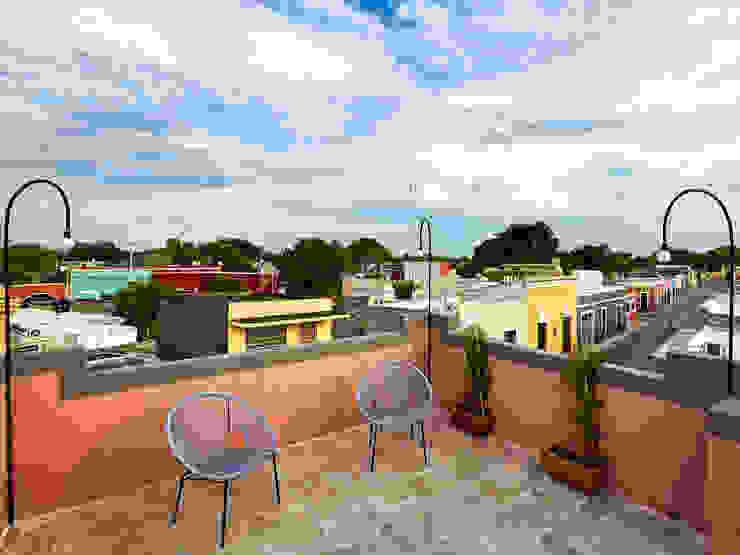 Quinto Distrito Arquitectura Tropical style balcony, veranda & terrace Concrete Pink