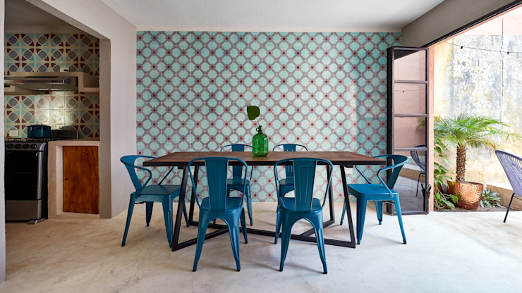 Quinto Distrito Arquitectura Tropical style dining room Tiles Blue