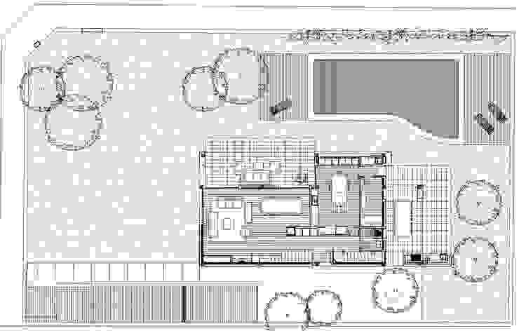Plano planta baja y acceso a jardin Soler Valiente Arquitectes Casas de estilo moderno