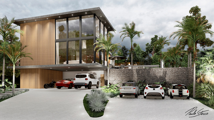 Paulo Stocco Arquiteto Rumah pedesaan Besi/Baja