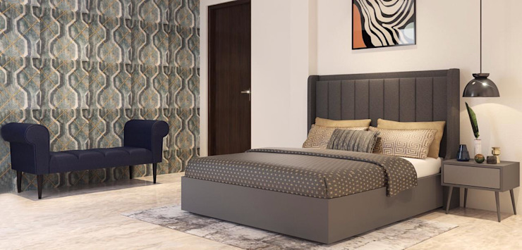 Browns and Gray Hygge bedroom design Lakkad Works Small bedroom
