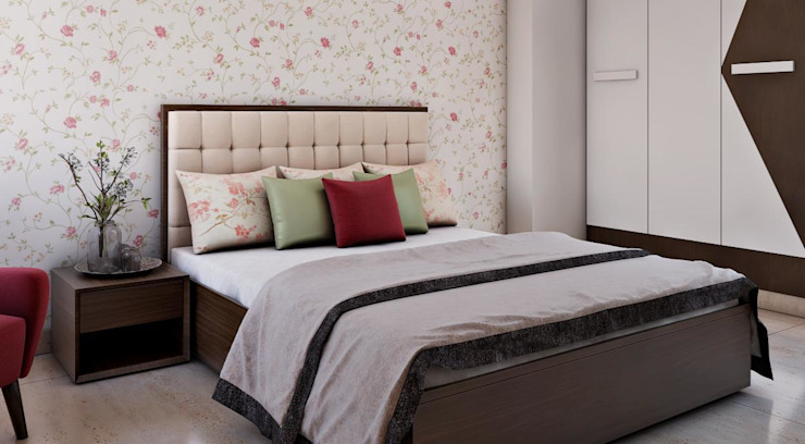 White and brown Tailored bedroom interior: Parent's room Lakkad Works Small bedroom