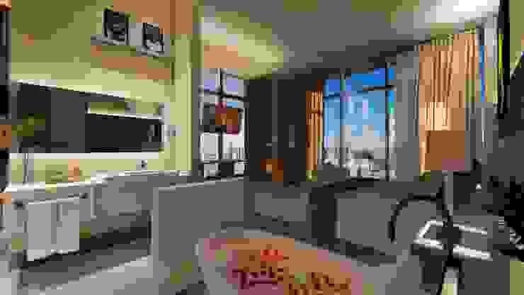 Cobertura | Loft 01 | Banheira Arquitetura Sônia Beltrão & associados Hotéis modernos Concreto Cinza