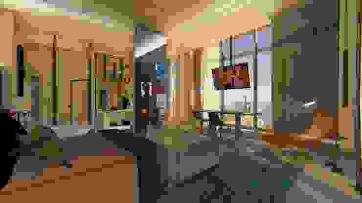 Cobrtura | Loft 01 | Estar Arquitetura Sônia Beltrão & associados Hotéis modernos Concreto Multi colorido