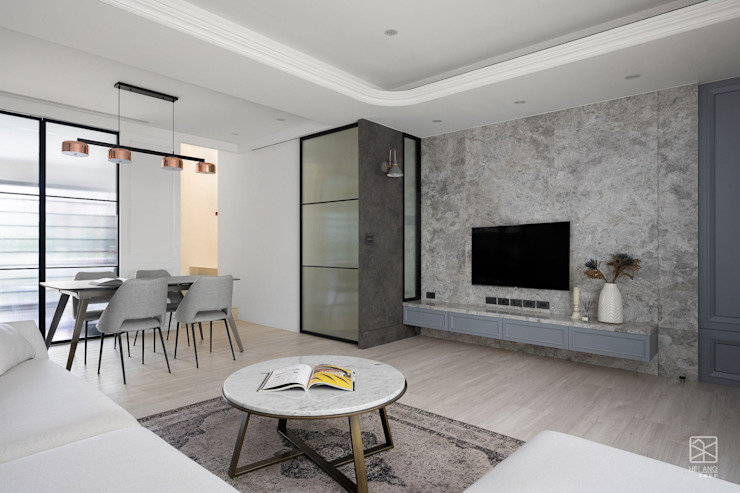 隱藏地下室拉門 禾廊室內設計 Living room