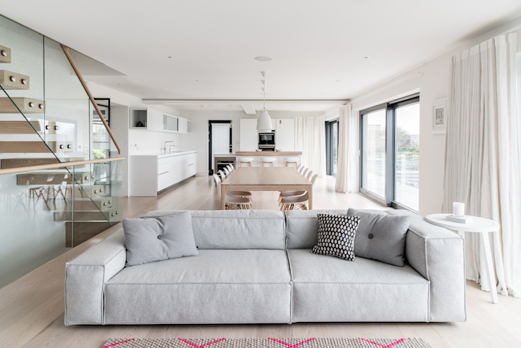 White Natural Living and Dining Room Arco2 Architecture Ltd Modern living room