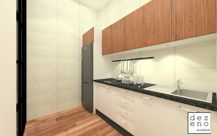 KITCHEN AREA Dezeno Sdn Bhd Small kitchens White
