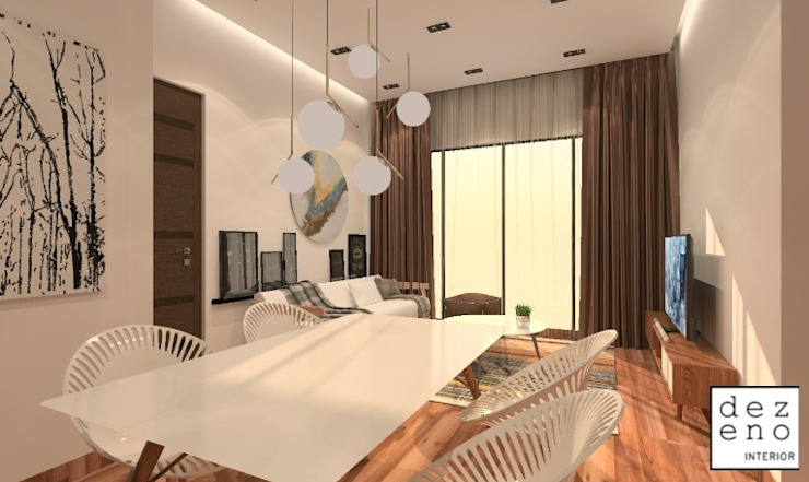 LIVING ROOM & DINING ROOM Dezeno Sdn Bhd Living room Brown