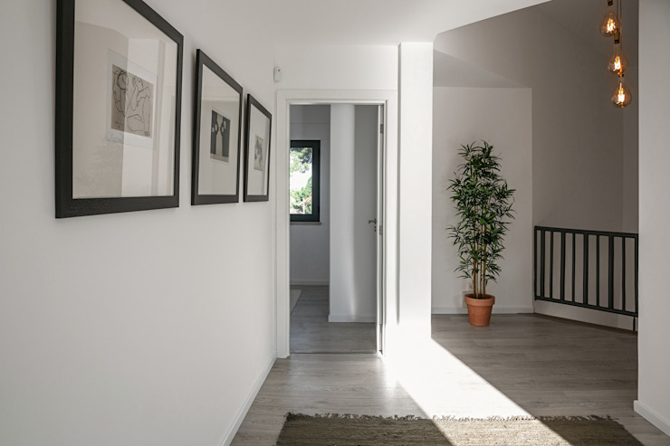 Staging Factory Modern Corridor, Hallway and Staircase