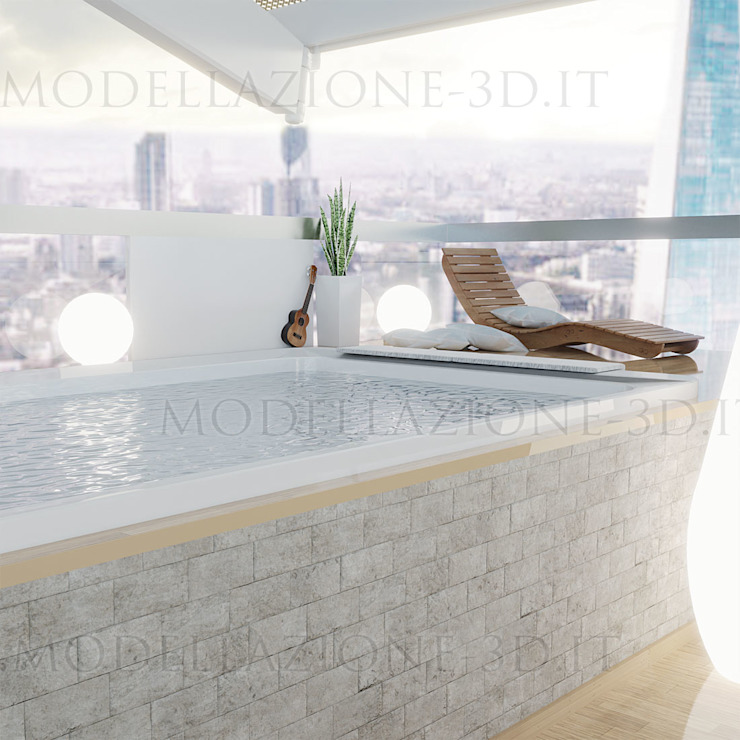 Alessandro Chessa Moderner Balkon, Veranda & Terrasse