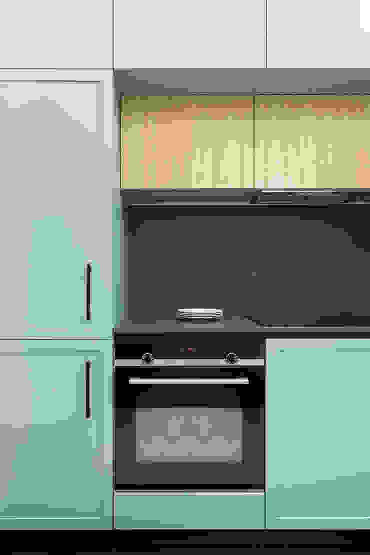 Dettaglio della cucina PLUS ULTRA studio Cucina attrezzata Turchese