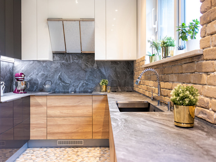 Studio4Design Modern kitchen Bricks Brown