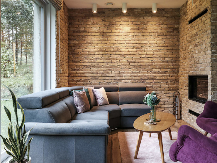 Studio4Design Modern living room Bricks Brown