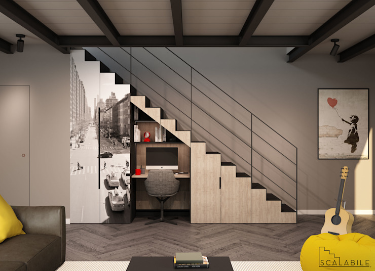 Scalabile- Home Office - Chiuso PMscale CasaContenitori Ferro / Acciaio Grigio