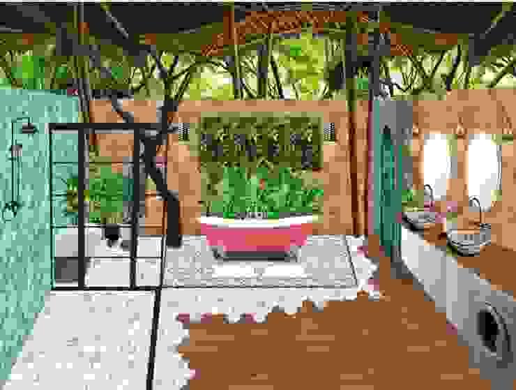 Baño con inodoro seco para hacer compost ON Construcción Ecológica Baños tropicales Bambú Acabado en madera