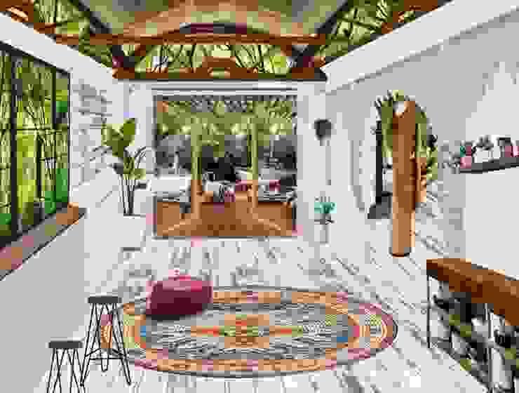 Sala de estar ON Construcción Ecológica Tropische gangen, hallen & trappenhuizen Granito Blanco