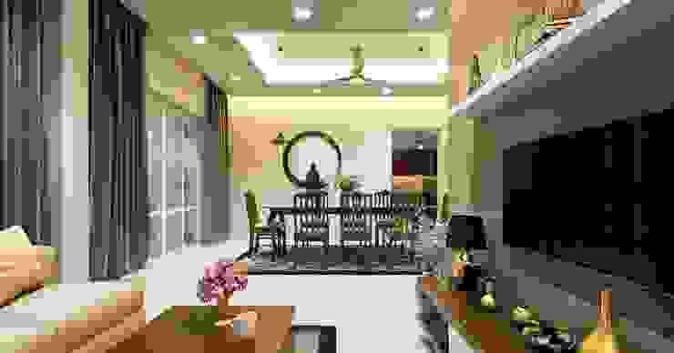 Living cum dining design styles Monnaie Interiors Pvt Ltd Living roomAccessories & decoration Wood Wood effect