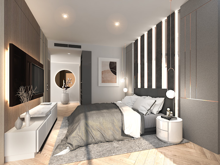 Magnolias Waterfront Residences Modernize Design + Turnkey ห้องนอน Grey
