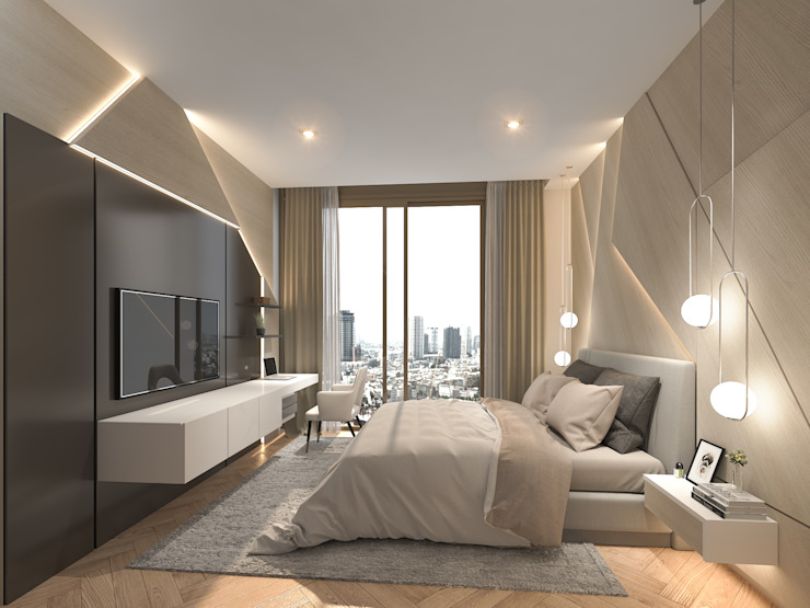 Magnolias Waterfront Residences Modernize Design + Turnkey ห้องนอน Beige