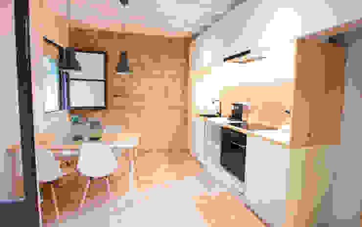 Cocina con detalle de muro de piedra Cocinas de estilo moderno de DECOWOOD EUROPA SL Moderno