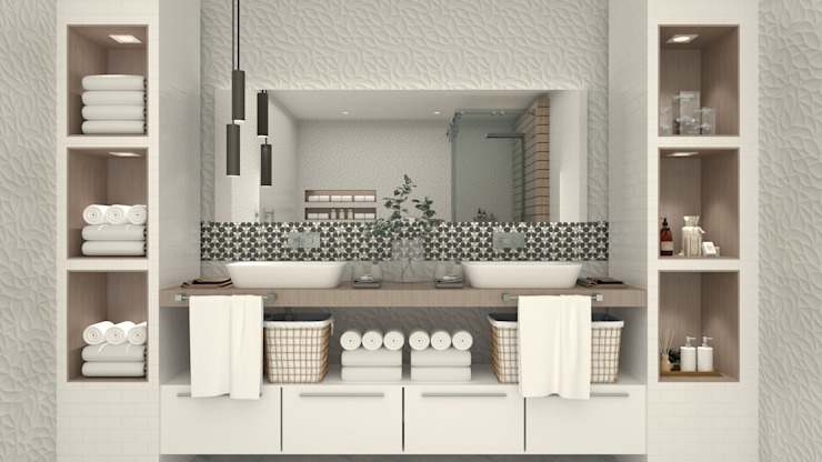 Propuesta de Diseño - Baño Interior Design - Pérez Blas Kelly Baños modernos Cerámico Blanco