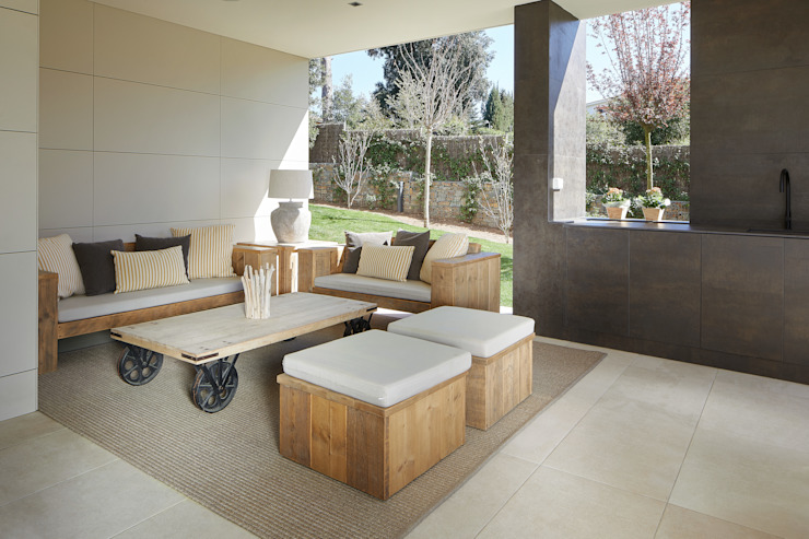 ROSA GRES Rustykalny balkon, taras i weranda Ceramiczny Beżowy