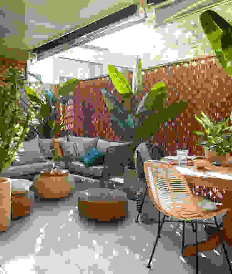 ROSA GRES Egzotyczny balkon, taras i weranda Ceramiczny Szary