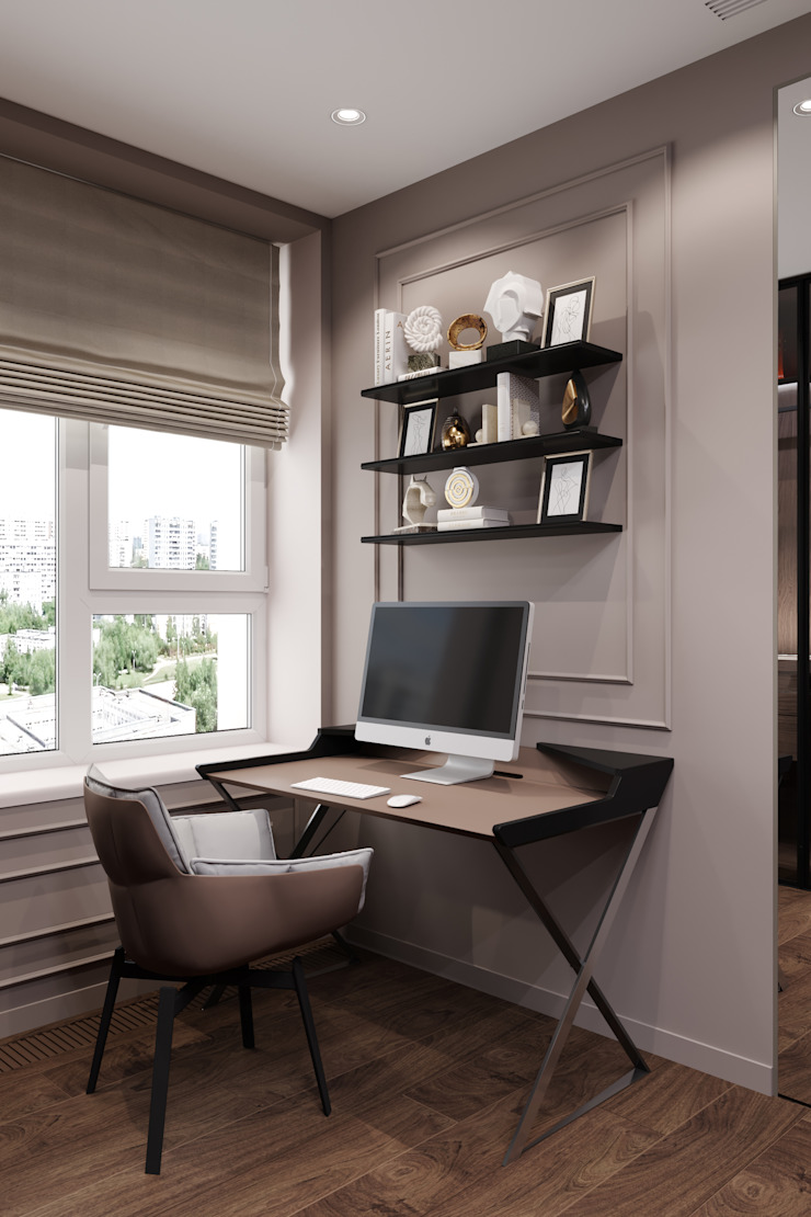 Студия архитектуры и дизайна Дарьи Ельниковой Minimalst style study/office
