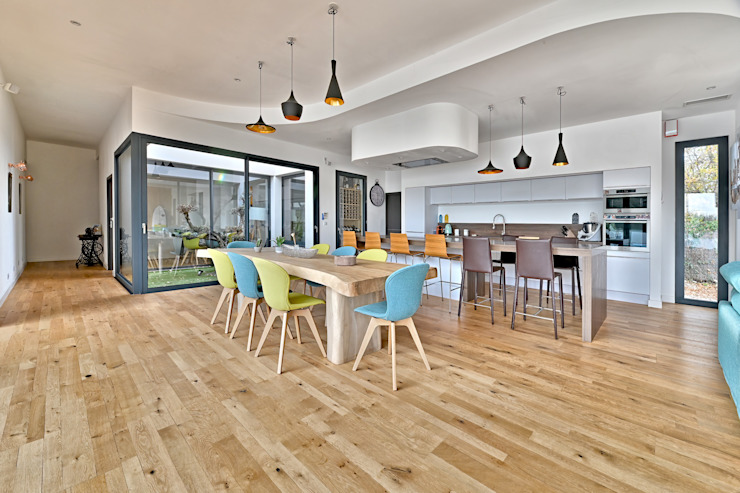 Villa contemporaine Aubais Brunel Architecture Salle à manger moderne