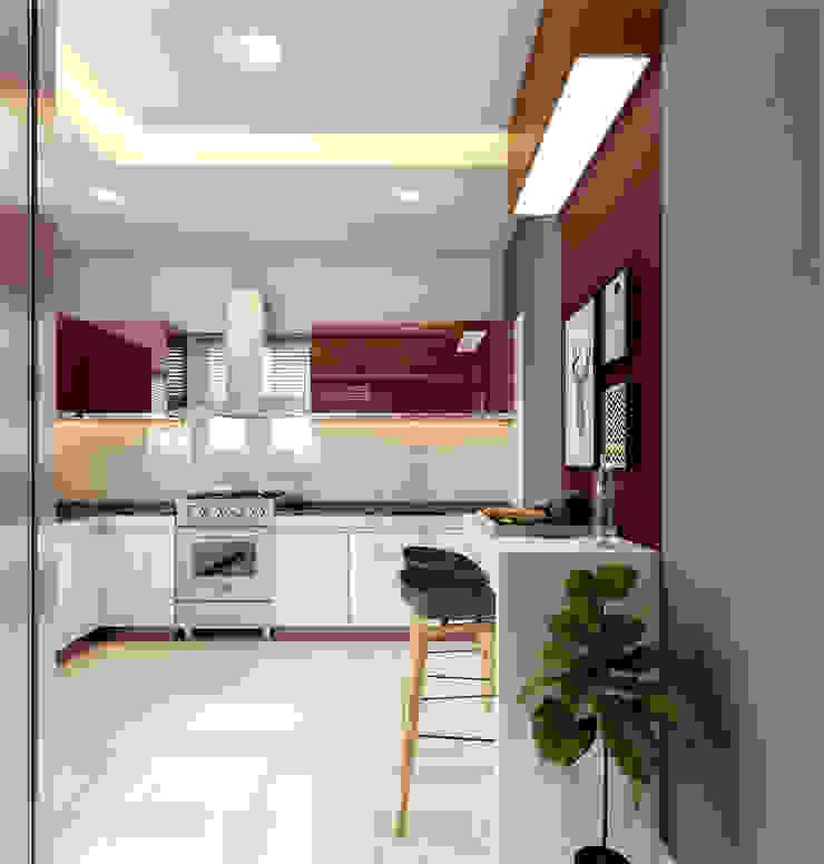 Kitchen work area design styles Monnaie Interiors Pvt Ltd KitchenLighting Wood Wood effect