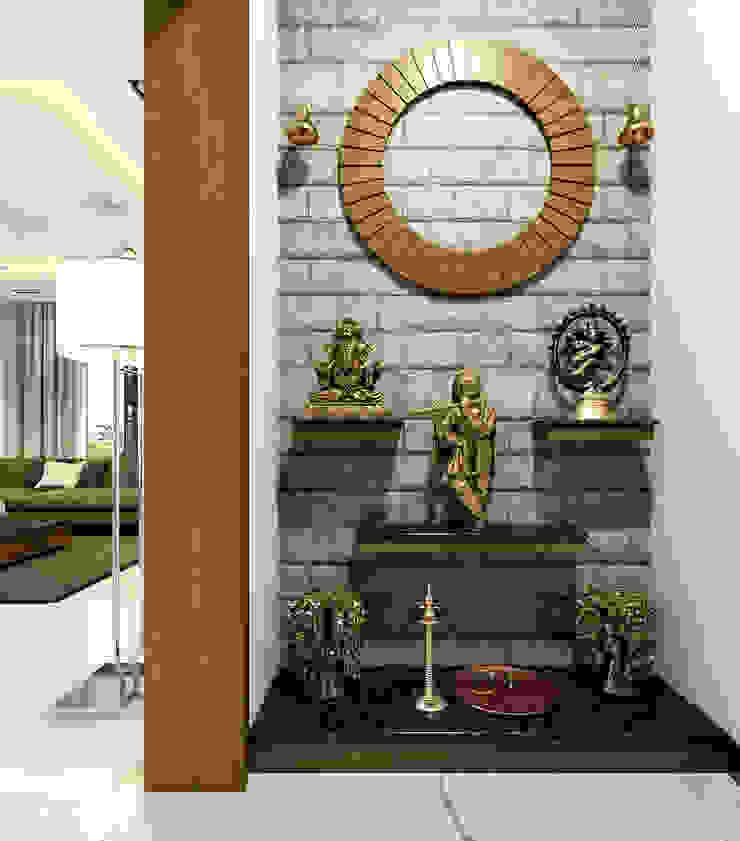 Pooja room design areas Monnaie Interiors Pvt Ltd Wine cellar Wood Wood effect