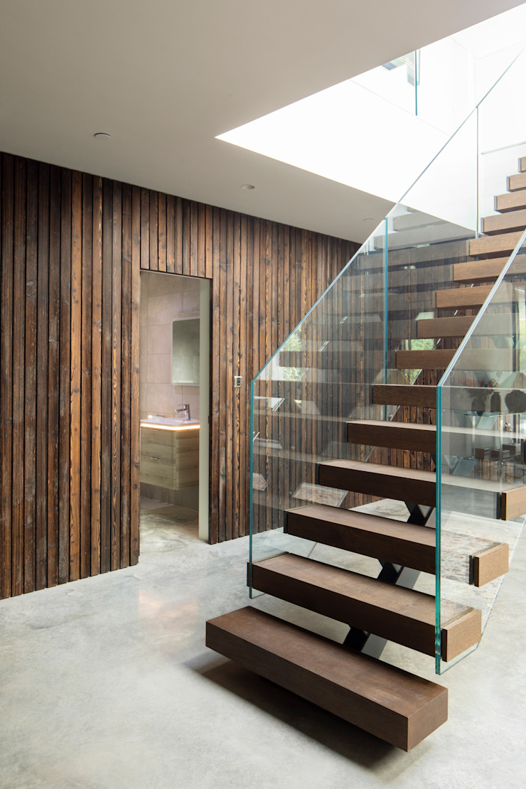 Interior Timber Cladding Clear Architects Modern corridor, hallway & stairs