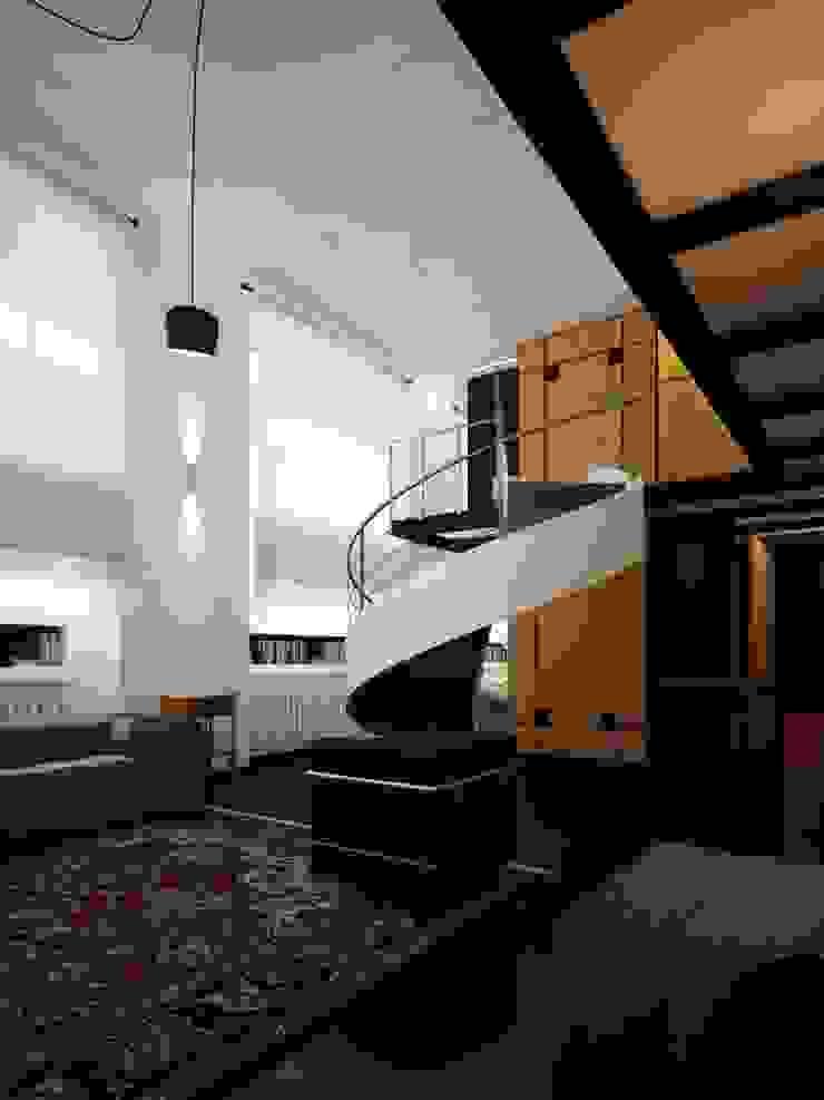 Loft Milanese ibedi laboratorio di architettura Soggiorno moderno Argento / Oro Ambra/Oro