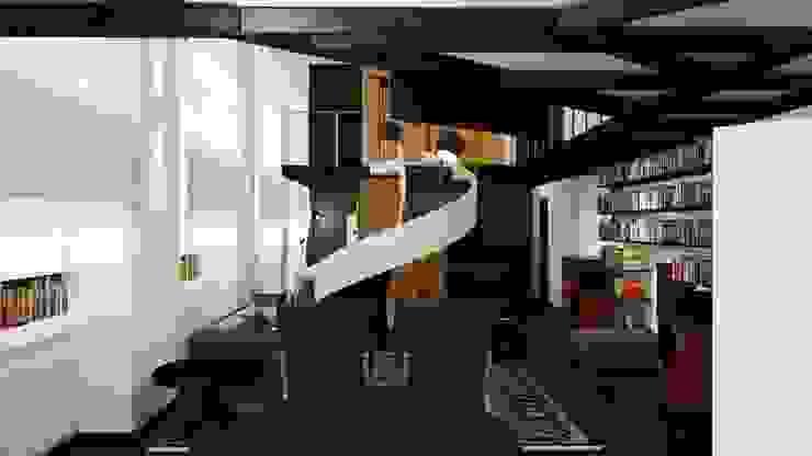 Loft Milanese ibedi laboratorio di architettura Sala da pranzo moderna Argento / Oro Ambra/Oro