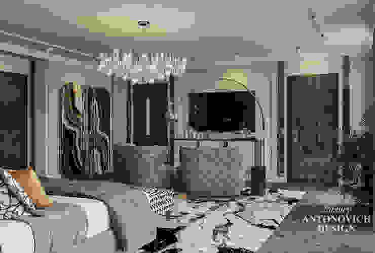 Роскошная ТВ-зона и современное освещение в интерьере в проекте дизайна элитной спальни премиум-класса Luxury Antonovich Design Ukraine Спальня в стиле модерн