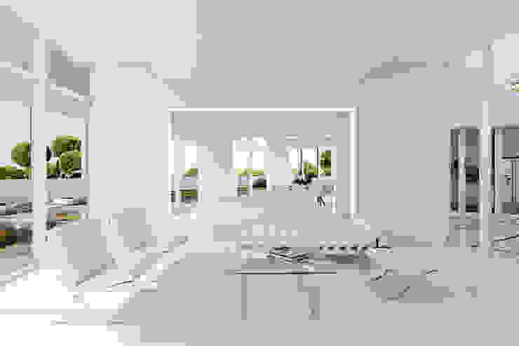 SALA DE ESTAR. SALON. LIVING ROOM MA.TERIA. ARCHITECTURE SOLUTIONS Salas de estar modernas Betão Branco