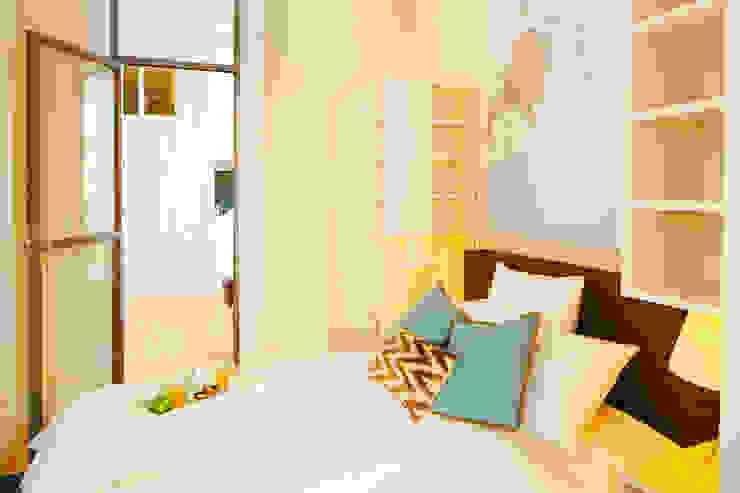 QUARTO. CHAMBRE. BEDROOM MA.TERIA. ARCHITECTURE SOLUTIONS Quartos pequenos Bege