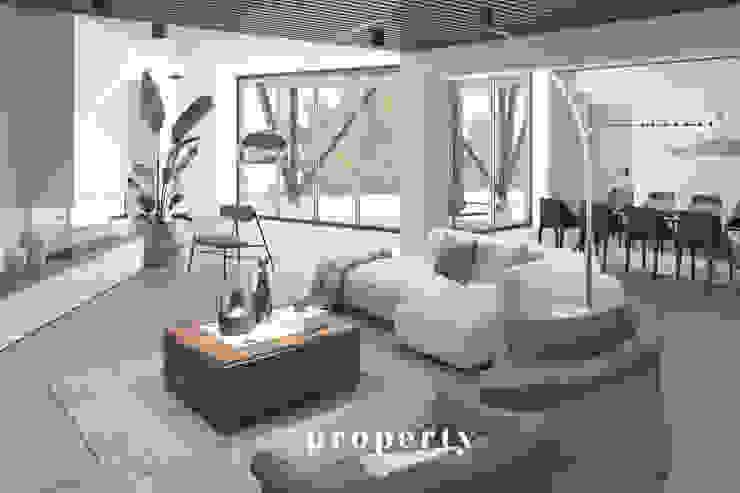 Render di progetto del SOGGIORNO della proprietà in costruzione, VENDUTA PROPERTY TALES Villa