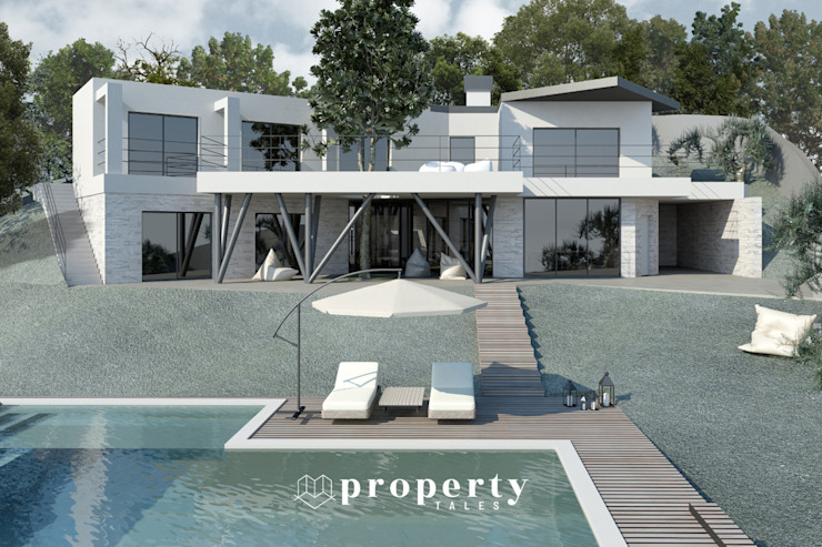 Render di progetto della vista ESTERNA della proprietà in costruzione, VENDUTA PROPERTY TALES Villa