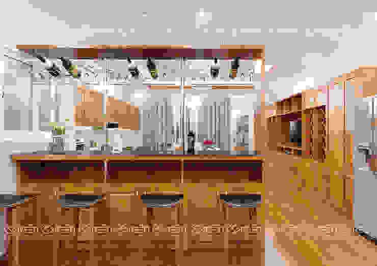 Không gian nội thất bếp, ăn Công ty TNHH Thiết Kế Xây Dựng Xanh Hoàng Long KitchenKitchen utensils Wood effect