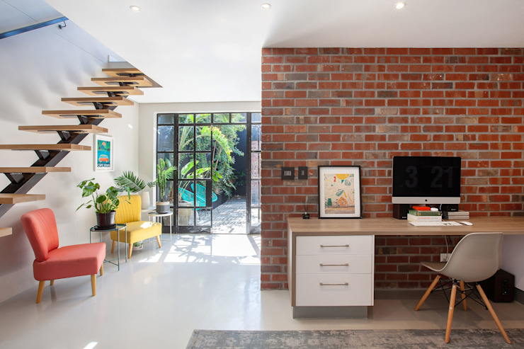 Home study office Holloway and Davel architects Study/office Bricks White