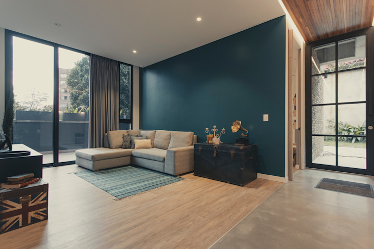 Adrede Diseño Modern Study Room and Home Office Blue