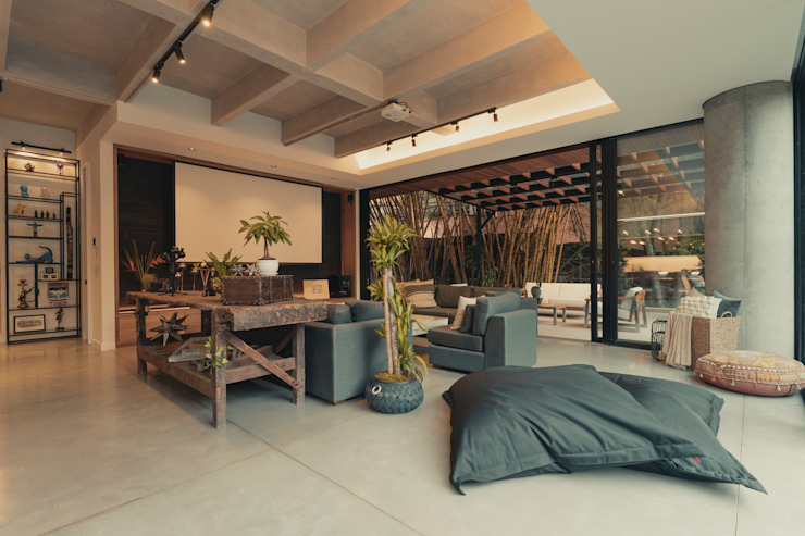 Adrede Diseño Eclectic style living room Concrete Grey