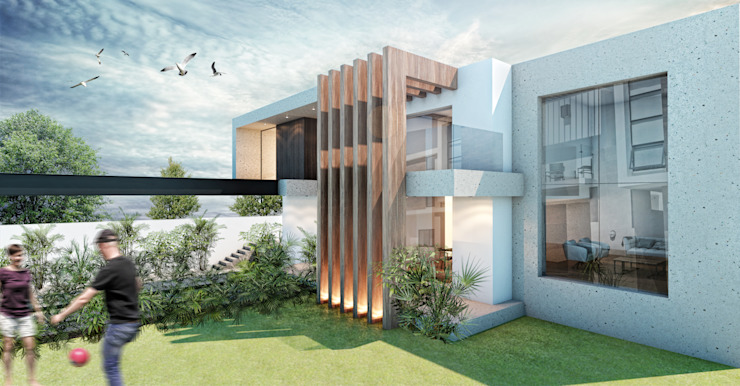 G._ALARQ + TAGA Arquitectos Single family home Marble Wood effect