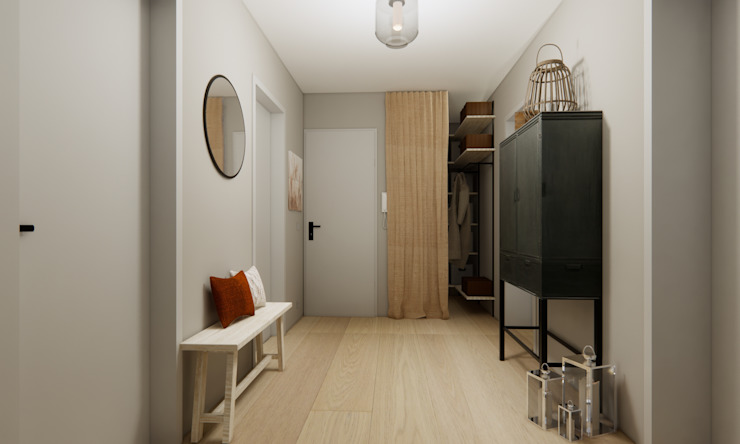 Eingangsbereich Innenarchitektur Federleicht Moderner Flur, Diele & Treppenhaus Grau