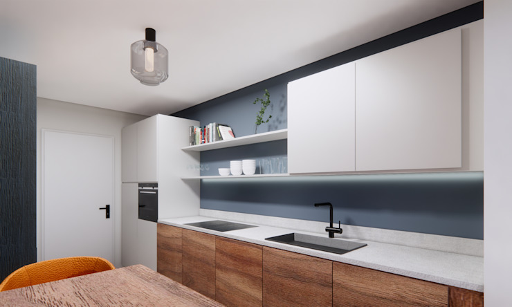 Küche mit Holzfronten Innenarchitektur Federleicht Moderne Pools Blau
