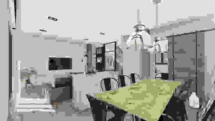 Diseño Integral Interior Vivienda Unifamiliar Proyecto AISO Comedores de estilo industrial