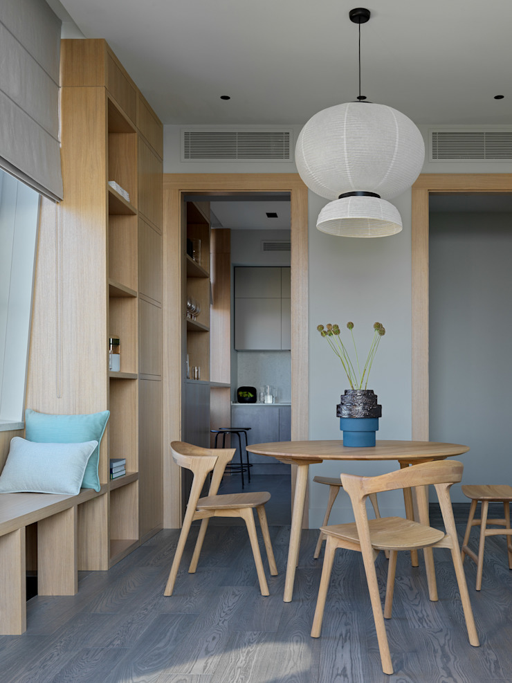 Дизайн бюро Татьяны Алениной Modern dining room Grey