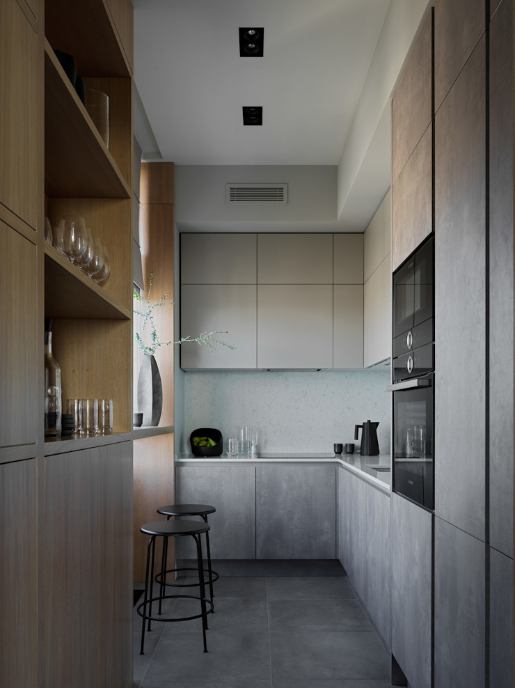 Дизайн бюро Татьяны Алениной KitchenCabinets & shelves Grey