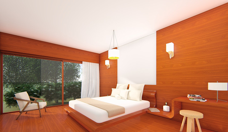 South Carolina House - Bedroom 2 NSBW Modern style bedroom Wood Wood effect